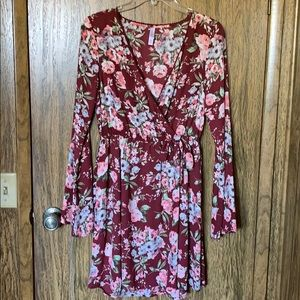 Long sleeve burgundy floral dress